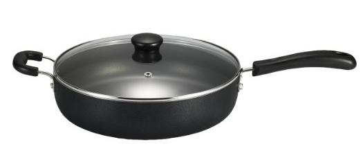 T-fal A91082 Specialty Nonstick Dishwasher Safe PFOA Free Jumbo Cooker Cookware with Glass Lid, 5-Quart, Black