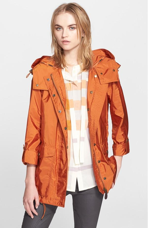 Burberry Brit 'Maidleigh' Hooded Roll Sleeve Jacket