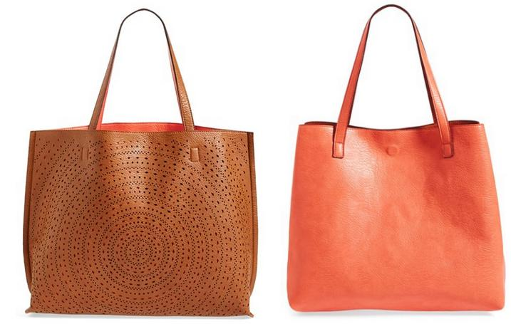Street Level Laser Cut Reversible Faux Leather Tote @ Nordstrom.com