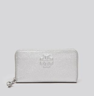 Tory Burch Wallet - Thea Metallic Zip Continental @ Bloomingdales