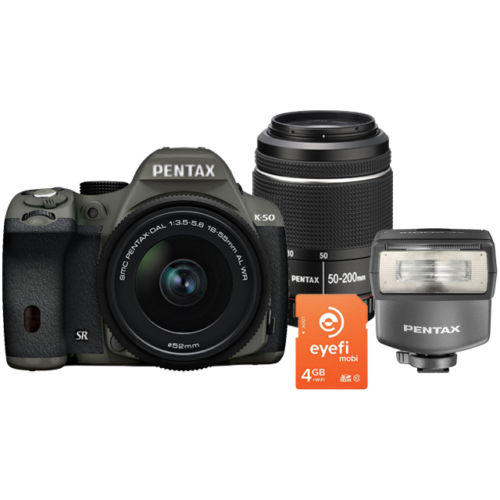 $399 New Pentax K-50 with 18-55 WR, 50-200 WR + 4GB Eye-fi Card