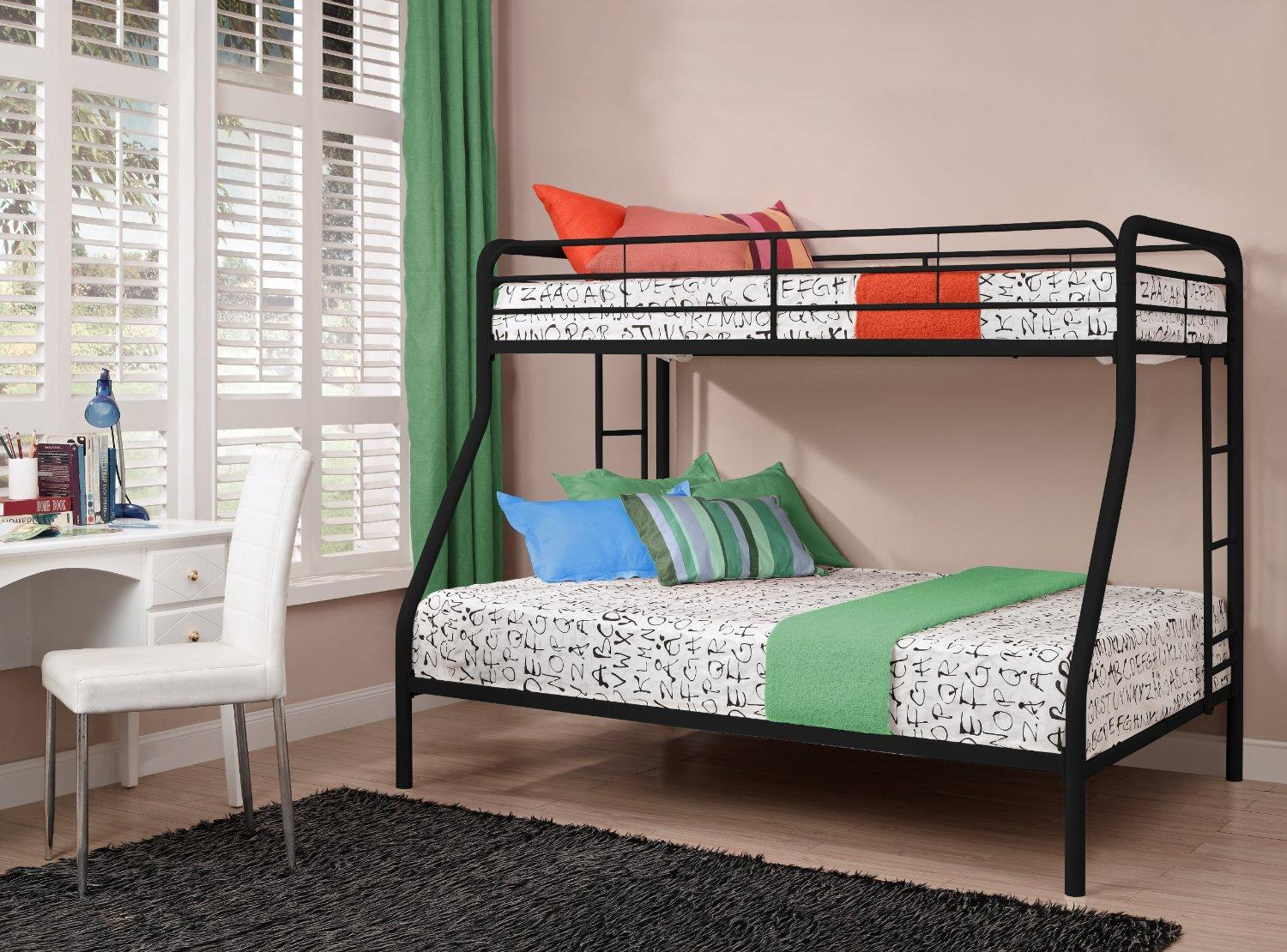 $169 Dorel Home Products Twin-Over-Full Bunk Bed, Black