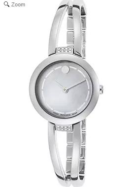 Movado Women's Amorosa Diamond Stainless Steel White MOP Dial Watch @ The Watchery