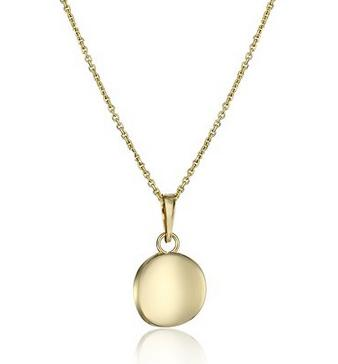 Lowest price! 14k Italian Yellow Gold Round Pendant Necklace, 18&quot