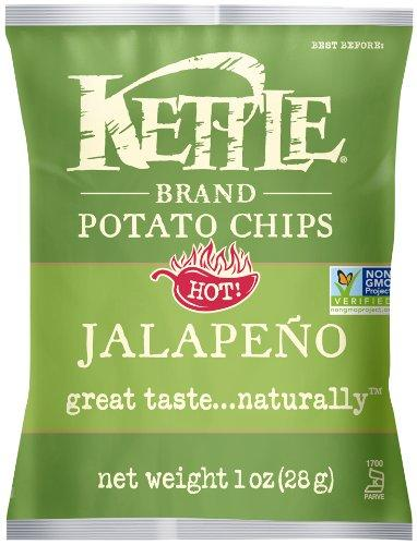 Kettle Brand Potato Chips, Jalapeno, 1-Ounce Bags (Pack of 72)