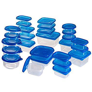 $8.99 Trademark 54 Piece Plastic Food Container Set With Air Tight Lids, Blue/Clear