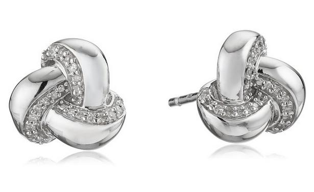 Sterling Silver Diamond Knot Earrings (1/10 cttw)