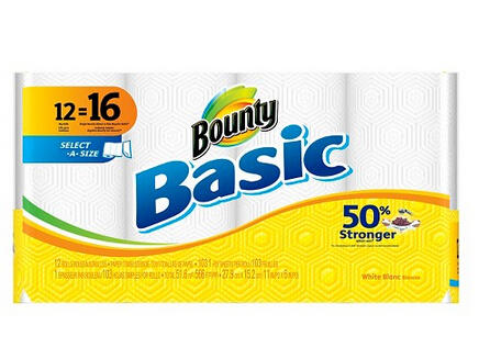 $9.99 + $5 GC When You Buy 2 Bounty Basic Select-A-Size White Paper Towels 12 Big Rolls