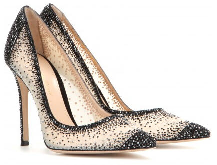 $2395 + Free Shipping GIANVITO ROSSI Crystal Embellished Pumps