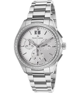 Maurice Lacroix Women's Miros Chronograph Diamond Stainless Steel Silver-Tone Dial Watch @ The Watchery