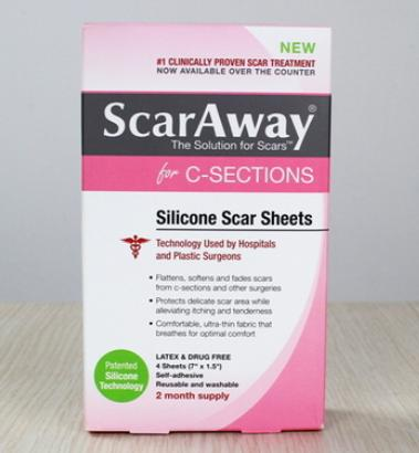 $21.84 ScarAway C-Section Scar Treatment Strips, Silicone Adhesive Soft Fabric 4-Sheets (7 X 1.5 Inch)