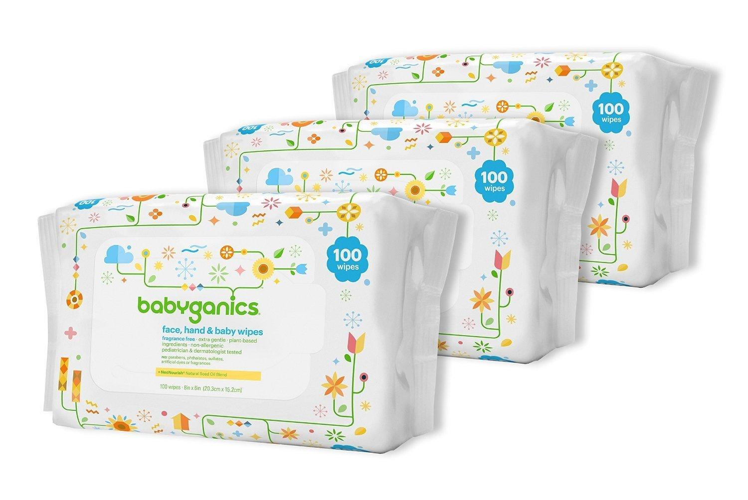 Babyganics Face, Hand & Baby Wipes, Fragrance Free, 300 Count (Contains Three 100-Count Packs)