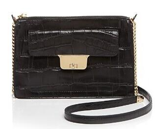 MILLY Crossbody - Isabella Croc-Embossed Top Zip @ Bloomingdales