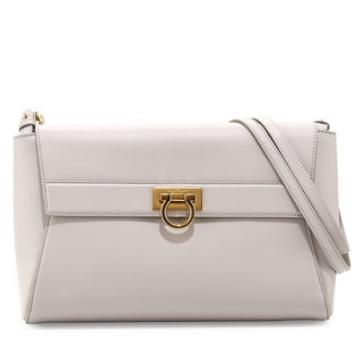 Salvatore Ferragamo  Abbey Leather Shoulder Bag, Nuage @ Neiman Marcus