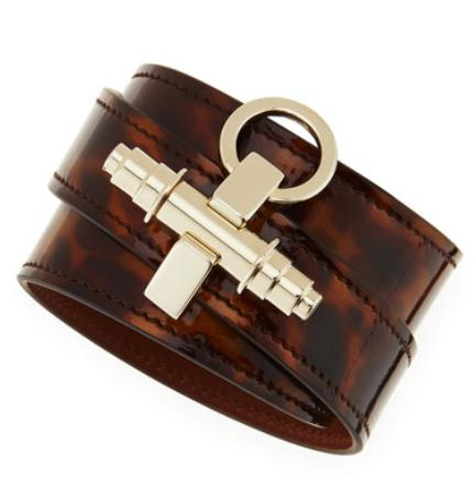 Givenchy Tortoise Leather Wrap Bracelet, Brown @ Bergdorf Goodman