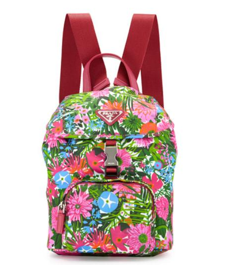 Prada Nylon Small Floral-Print Backpack, Pink @ Bergdorf Goodman