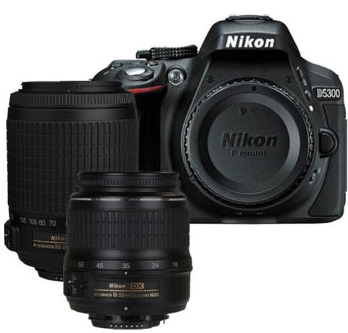 Nikon D5300 DX-Format DSLR Kit w/ 18-55mm ED II, 55-200 DX VR Lens