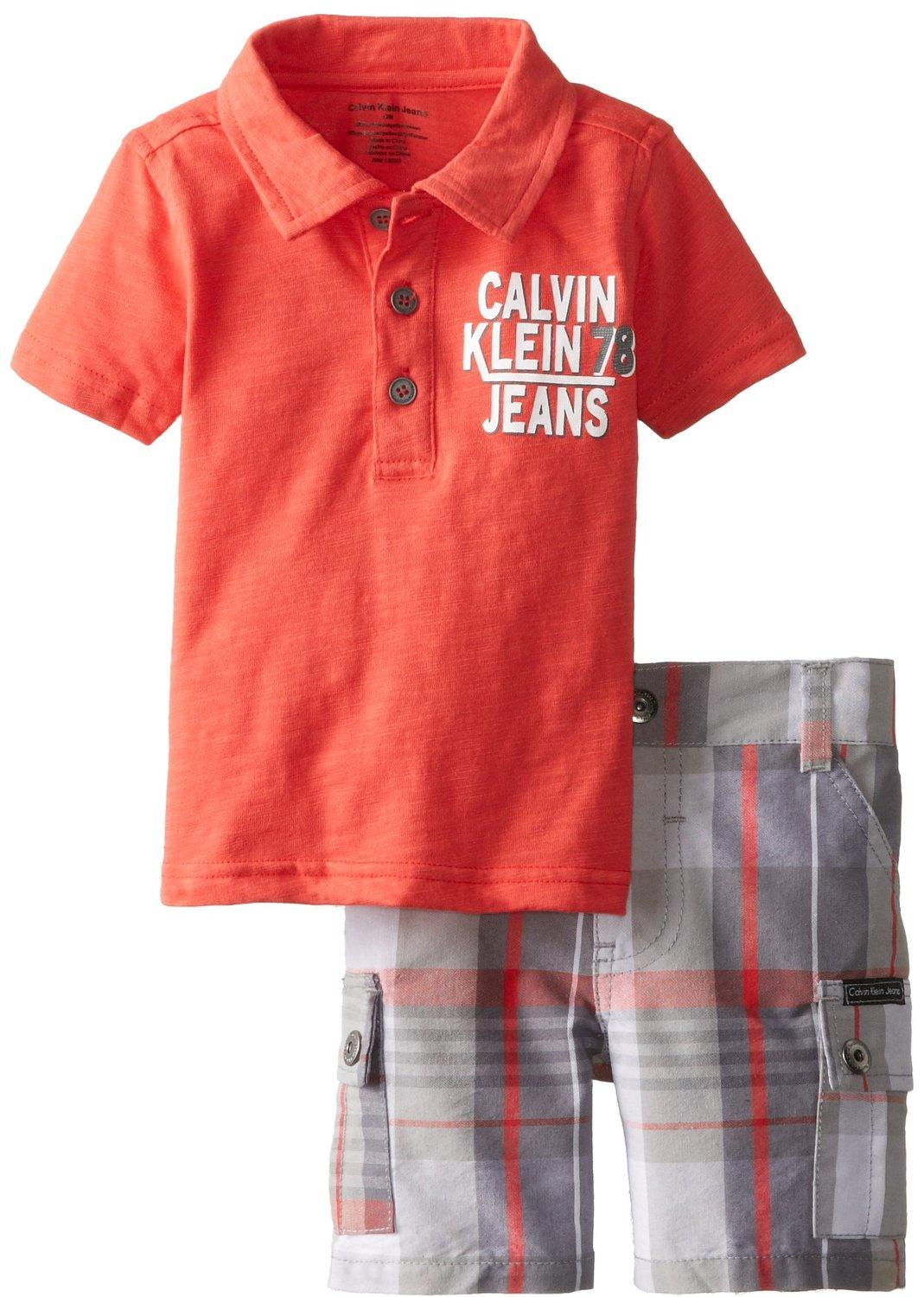 Calvin Klein Baby Boys' Orange Polo Top with Plaid Cargo Shorts