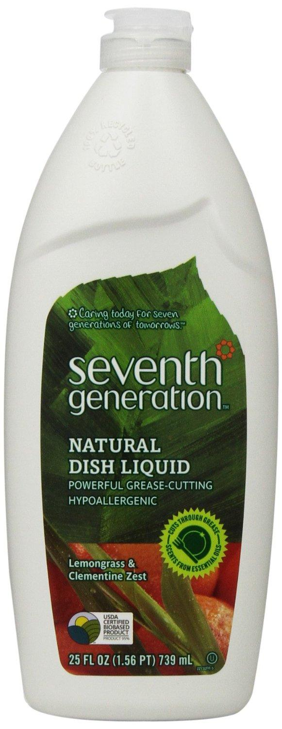 $14.04 Seventh Generation Natural Dish Liquid, Lemongrass & Clementine Zest, 25-Oz. Bottles (Pack of 6)