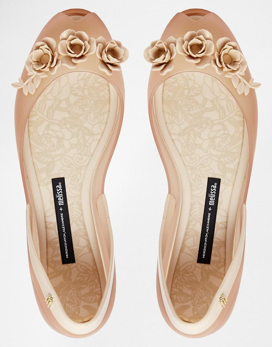 Melissa and Alexandre Herchcovitch Flower Queen Champagne Flat Shoes
