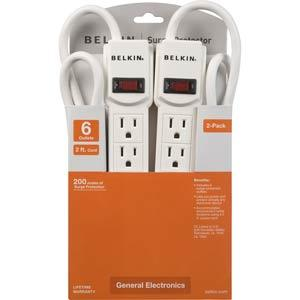 Belkin 6-Outlet Surge Protector with 2 ft. Cord (2-Pack)