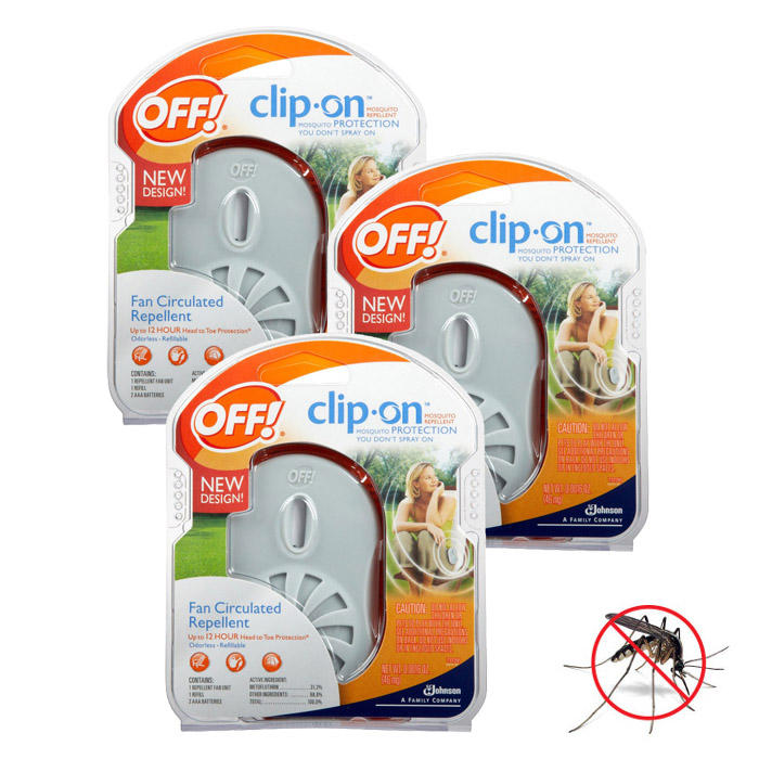 3-Pack: OFF! Clip-On Fan Odorless Mosquito Repellent Starter Kits