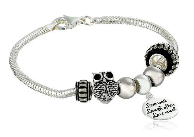 Sterling Silver Live Laugh Love Bead Charm Bracelet, 7.5&quot