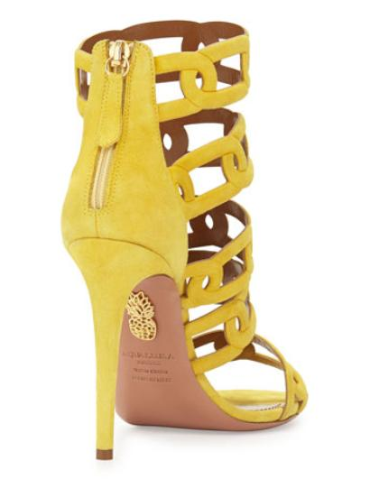 Aquazzura Chain Me Up Open-Toe Suede Bootie, Yellow(5.5) @ Bergdorf Goodman