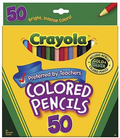 1.37 Crayola Colored Pencils, Long, 50pk