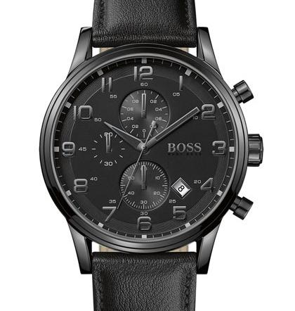 BOSS Leather Strap Chronograph Watch, 44mm @ Nordstrom