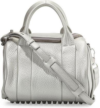 Alexander Wang Rockie Dumbo Stud-Bottom Satchel Bag, Platinum