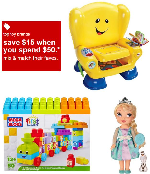 $15 Off $50   Toy Purchase (Including Disney Frozen, Minions, Jurassic World & More) @ Target.com