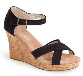 TOMS Canvas Ankle Wedge Sandals