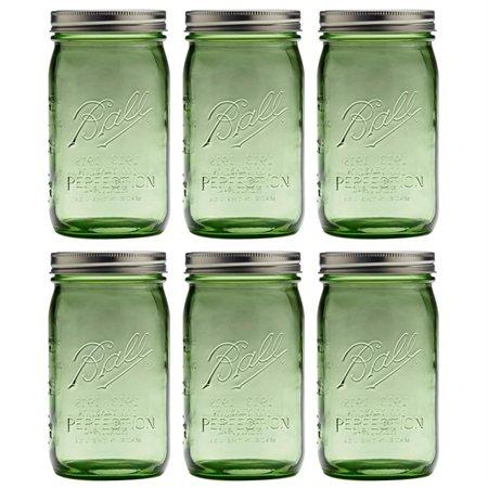 Ball Set of 6 Wide Mouth Heritage Collection Quart Jar, Spring Green