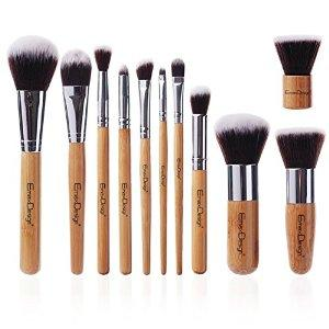 EmaxDesign® Makeup Brush Set Professional 11 Pieces Bamboo Handle Premium Synthetic Kabuki Foundation Blending Blush Eyebrow Face Liquid Powder Cream Cosmetics Brushes Tool Kit With Breathable Bag