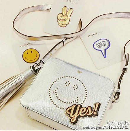 Smiley Perforated Leather Crossbody Bag