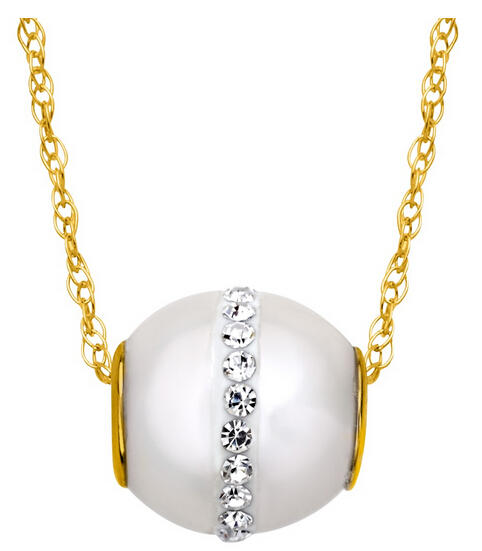 Pearl Bead Pendant with Swarovski Crystals
