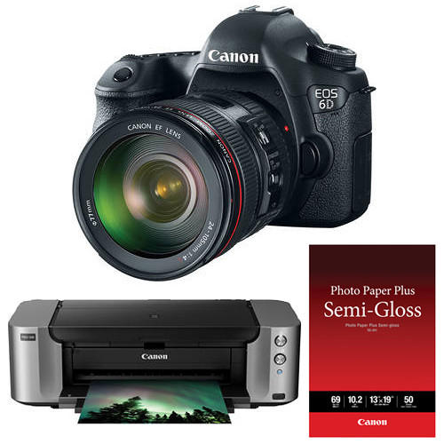 $1649 Canon EOS 6D DSLR Camera with 24-105mm f/4L Lens and PIXMA