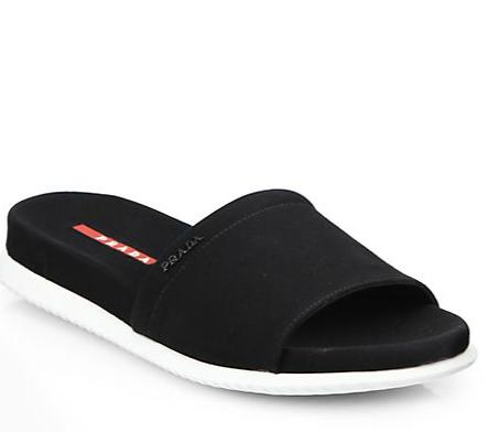 Prada Canvas Slide Sandals @Saks Fifth Avenue