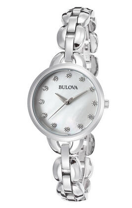 Bulova Women's Stainless Steel Mother of Pearl Dial Crystal Markers Watch BUL-96L204
