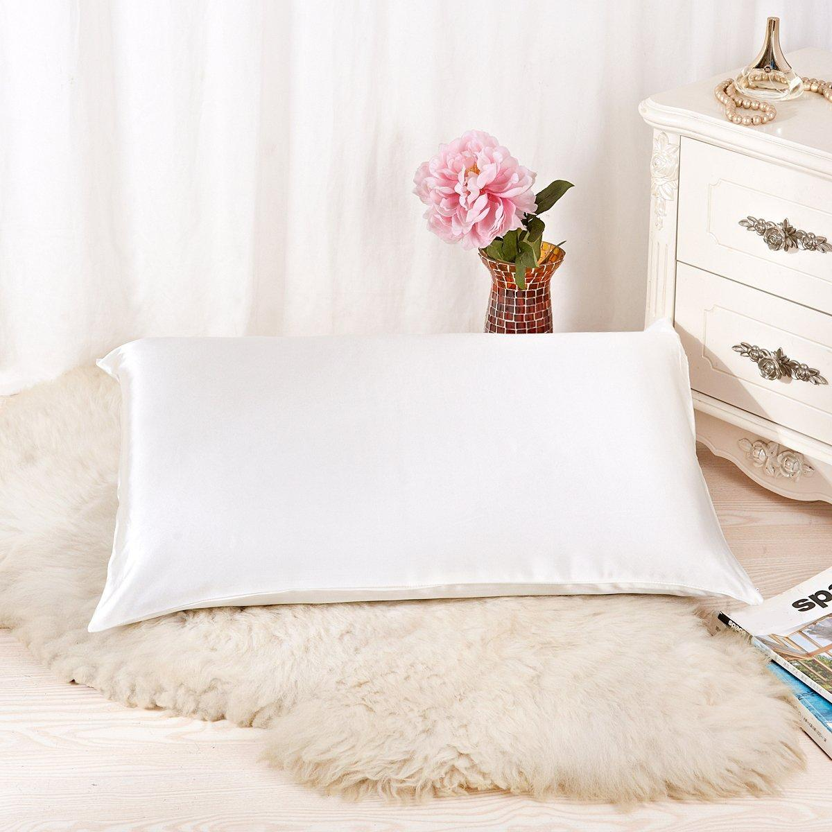 Alaska Bear 100% Pure Silk Pillowcase for Hair & Facial Beauty Queen Standard Size Ivory White Pillow Shams Cover with Hidden Zipper