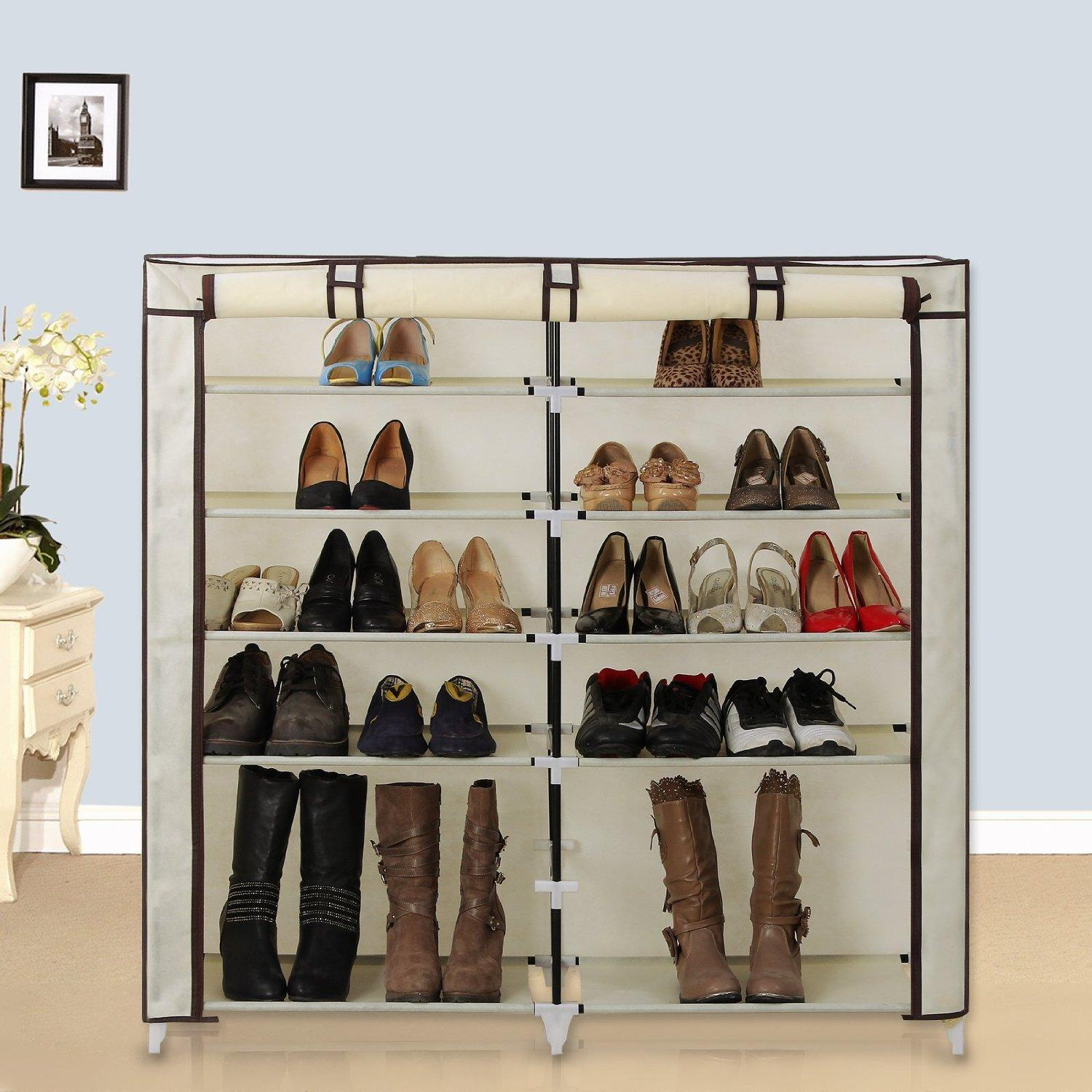 $25.49 Songmics 7 Tiers Shoe Rack Closet with Fabric Cover Beige URXJ12M
