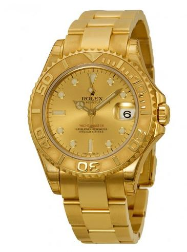 Rolex Yacht-Master Automatic Gold Dial 18kt Yellow Gold Midsize Watch @ JomaShop.com