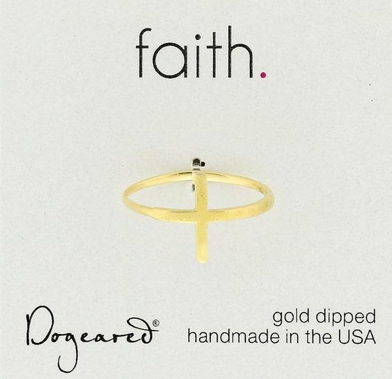 Dogeared Gold Plated Sterling Silver Faith Large Sideways Cross Ring, Size 8