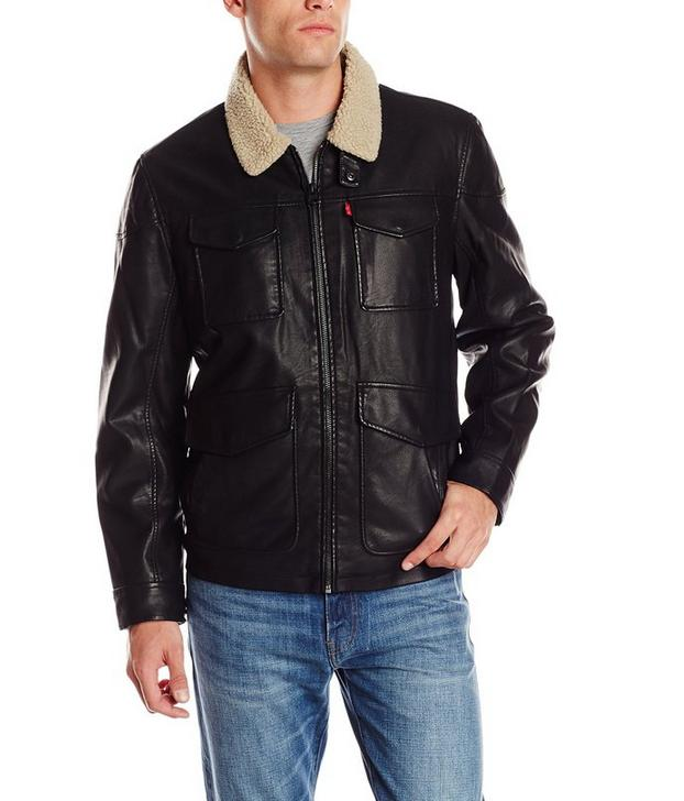 Levi's Men's Faux-Leather Four-Pocket Field Jacket with Sherpa-Lined Collar