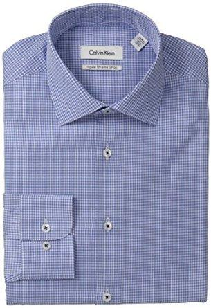 Calvin Klein Men's Regular Fit Mini Gingham, Afternoon Sky, 15 34/35