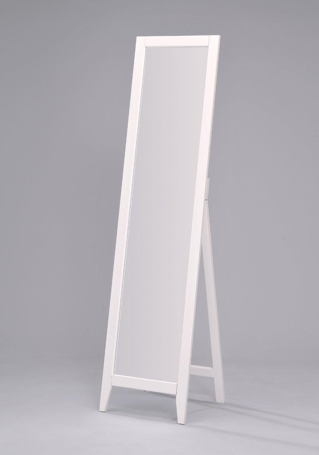 Kings Brand White Finish Solid Wood Frame Floor Mirror