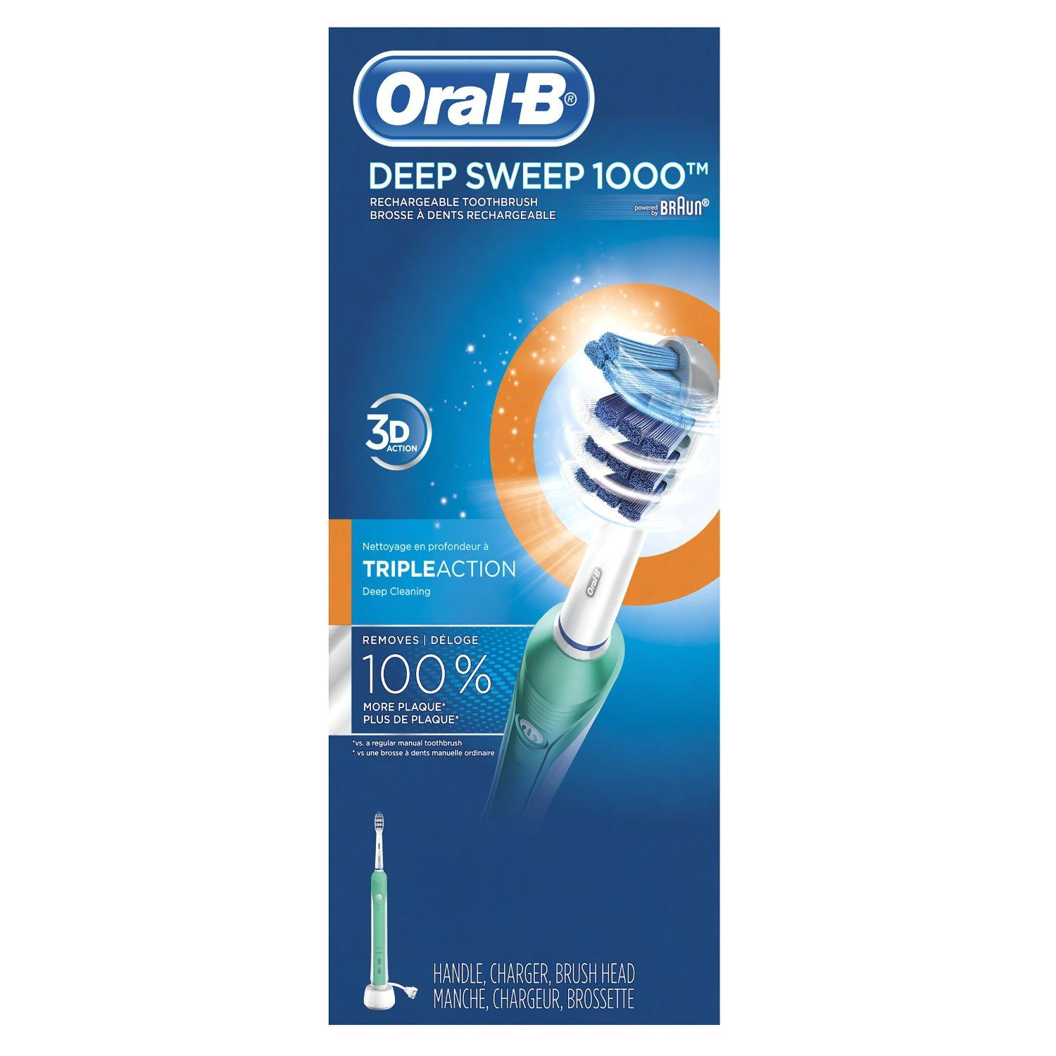 Oral-B Deep Sweep 1000 Electric Rechargeable Power Toothbrush Powered by Braun