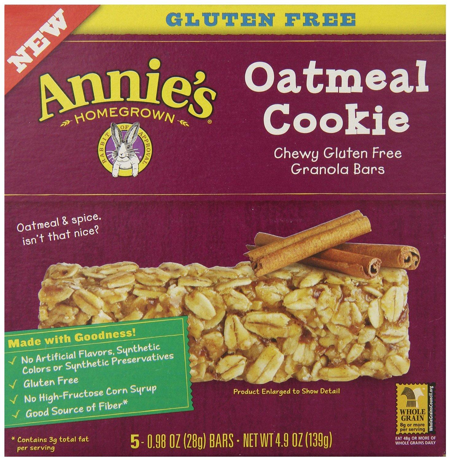 Annie's Chewy Gluten Free Granola Bars, Oatmeal Cookie, 0.98 oz. Bars, 5 Count