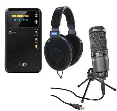 Sennheiser HD600 Headphones + Audio-Technica AT2020USB + Cardioid Condenser USB Microphone, FiiO E17 USB DAC Headphone Amplifier